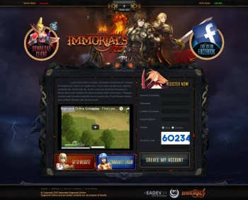 Immortal RO Landing Page